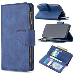 Binfen Color BF02 Sensory Buckle Zipper Multifunction Leather Phone Wallet for iPhone 12 / 12 Pro (6.1 inch) - Blue