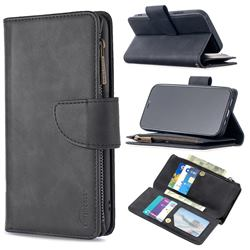 Binfen Color BF02 Sensory Buckle Zipper Multifunction Leather Phone Wallet for iPhone 12 / 12 Pro (6.1 inch) - Black