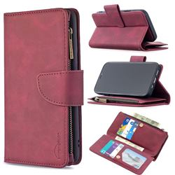 Binfen Color BF02 Sensory Buckle Zipper Multifunction Leather Phone Wallet for iPhone 12 / 12 Pro (6.1 inch) - Red Wine
