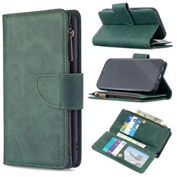 Binfen Color BF02 Sensory Buckle Zipper Multifunction Leather Phone Wallet for iPhone 12 / 12 Pro (6.1 inch) - Dark Green