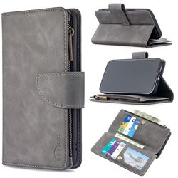 Binfen Color BF02 Sensory Buckle Zipper Multifunction Leather Phone Wallet for iPhone 12 / 12 Pro (6.1 inch) - Gray