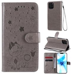 Embossing Bee and Cat Leather Wallet Case for iPhone 12 / 12 Pro (6.1 inch) - Gray