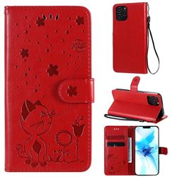Embossing Bee and Cat Leather Wallet Case for iPhone 12 / 12 Pro (6.1 inch) - Red
