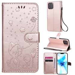 Embossing Bee and Cat Leather Wallet Case for iPhone 12 / 12 Pro (6.1 inch) - Rose Gold