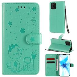 Embossing Bee and Cat Leather Wallet Case for iPhone 12 / 12 Pro (6.1 inch) - Green