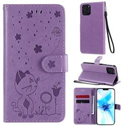 Embossing Bee and Cat Leather Wallet Case for iPhone 12 / 12 Pro (6.1 inch) - Purple