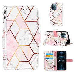Pink White Stitching Color Marble Leather Wallet Case for iPhone 12 / 12 Pro (6.1 inch)
