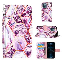 Dream Purple Stitching Color Marble Leather Wallet Case for iPhone 12 / 12 Pro (6.1 inch)