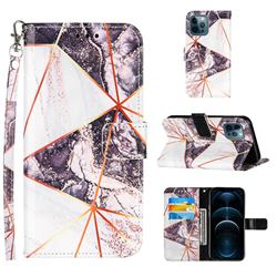 Black and White Stitching Color Marble Leather Wallet Case for iPhone 12 / 12 Pro (6.1 inch)