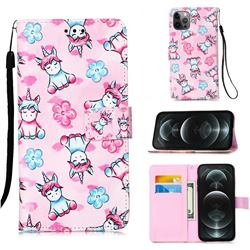 Unicorn and Flowers Matte Leather Wallet Phone Case for iPhone 12 / 12 Pro (6.1 inch)