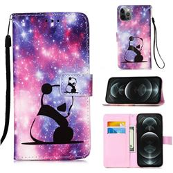 Panda Baby Matte Leather Wallet Phone Case for iPhone 12 / 12 Pro (6.1 inch)