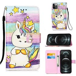 Spiral Pony Matte Leather Wallet Phone Case for iPhone 12 / 12 Pro (6.1 inch)