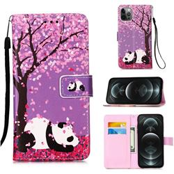 Cherry Blossom Panda Matte Leather Wallet Phone Case for iPhone 12 / 12 Pro (6.1 inch)