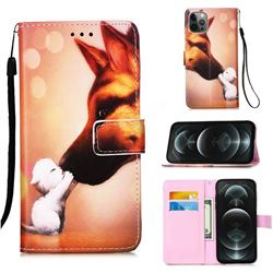 Hound Kiss Matte Leather Wallet Phone Case for iPhone 12 / 12 Pro (6.1 inch)