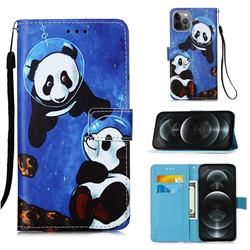 Undersea Panda Matte Leather Wallet Phone Case for iPhone 12 / 12 Pro (6.1 inch)