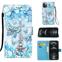 Tower Butterfly Matte Leather Wallet Phone Case for iPhone 12 / 12 Pro (6.1 inch)