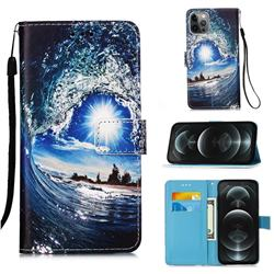 Waves and Sun Matte Leather Wallet Phone Case for iPhone 12 / 12 Pro (6.1 inch)