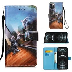 Mirror Cat Matte Leather Wallet Phone Case for iPhone 12 / 12 Pro (6.1 inch)