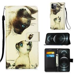 Cat Confrontation Matte Leather Wallet Phone Case for iPhone 12 / 12 Pro (6.1 inch)