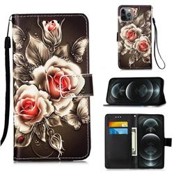 Black Rose Matte Leather Wallet Phone Case for iPhone 12 / 12 Pro (6.1 inch)