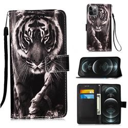 Black and White Tiger Matte Leather Wallet Phone Case for iPhone 12 / 12 Pro (6.1 inch)