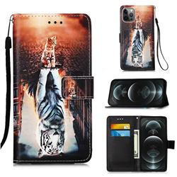 Cat and Tiger Matte Leather Wallet Phone Case for iPhone 12 / 12 Pro (6.1 inch)