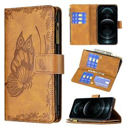 Binfen Color Imprint Vivid Butterfly Buckle Zipper Multi-function Leather Phone Wallet for iPhone 12 / 12 Pro (6.1 inch) - Brown