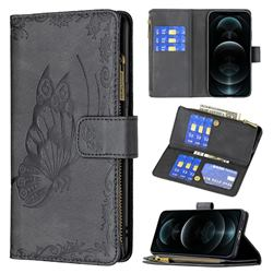 Binfen Color Imprint Vivid Butterfly Buckle Zipper Multi-function Leather Phone Wallet for iPhone 12 / 12 Pro (6.1 inch) - Black