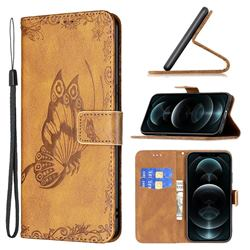 Binfen Color Imprint Vivid Butterfly Leather Wallet Case for iPhone 12 / 12 Pro (6.1 inch) - Brown