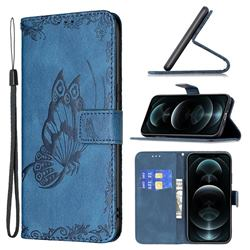 Binfen Color Imprint Vivid Butterfly Leather Wallet Case for iPhone 12 / 12 Pro (6.1 inch) - Blue
