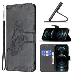 Binfen Color Imprint Vivid Butterfly Leather Wallet Case for iPhone 12 / 12 Pro (6.1 inch) - Black