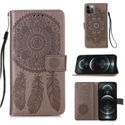 Embossing Dream Catcher Mandala Flower Leather Wallet Case for iPhone 12 / 12 Pro (6.1 inch) - Gray