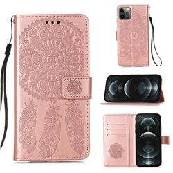 Embossing Dream Catcher Mandala Flower Leather Wallet Case for iPhone 12 / 12 Pro (6.1 inch) - Rose Gold