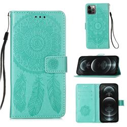 Embossing Dream Catcher Mandala Flower Leather Wallet Case for iPhone 12 / 12 Pro (6.1 inch) - Green