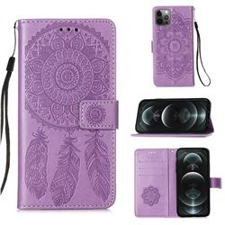 Embossing Dream Catcher Mandala Flower Leather Wallet Case for iPhone 12 / 12 Pro (6.1 inch) - Purple