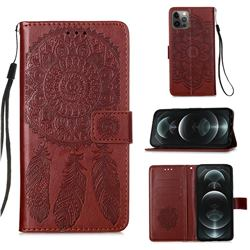 Embossing Dream Catcher Mandala Flower Leather Wallet Case for iPhone 12 / 12 Pro (6.1 inch) - Brown