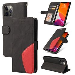 Luxury Two-color Stitching Leather Wallet Case Cover for iPhone 12 / 12 Pro (6.1 inch) - Black