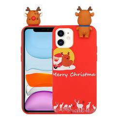 Moon Santa and Elk Christmas Xmax Soft 3D Doll Silicone Case for iPhone 12 Pro Max (6.7 inch)