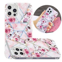 Rose Flower Painted Galvanized Electroplating Soft Phone Case Cover for iPhone 12 Pro Max (6.7 inch)