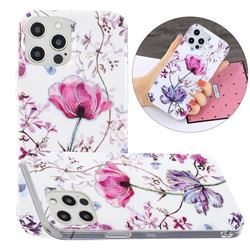 Magnolia Painted Galvanized Electroplating Soft Phone Case Cover for iPhone 12 Pro Max (6.7 inch)