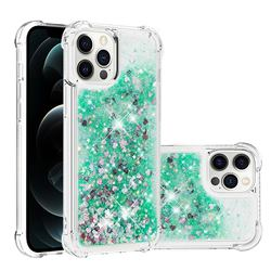 Dynamic Liquid Glitter Sand Quicksand TPU Case for iPhone 12 Pro Max (6.7 inch) - Green Love Heart