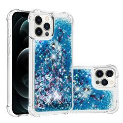 Dynamic Liquid Glitter Sand Quicksand TPU Case for iPhone 12 Pro Max (6.7 inch) - Blue Love Heart