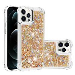 Dynamic Liquid Glitter Sand Quicksand TPU Case for iPhone 12 Pro Max (6.7 inch) - Rose Gold Love Heart