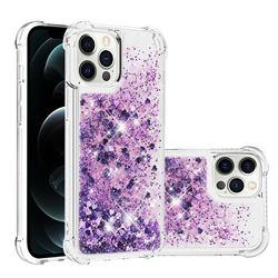 Dynamic Liquid Glitter Sand Quicksand Star TPU Case for iPhone 12 Pro Max (6.7 inch) - Purple