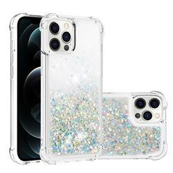 Dynamic Liquid Glitter Sand Quicksand Star TPU Case for iPhone 12 Pro Max (6.7 inch) - Silver