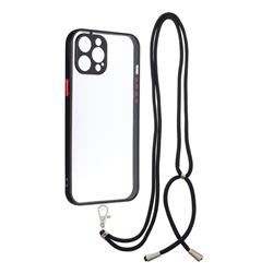 Necklace Cross-body Lanyard Strap Cord Phone Case Cover for iPhone 12 Pro Max (6.7 inch) - Black