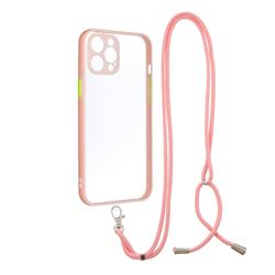Necklace Cross-body Lanyard Strap Cord Phone Case Cover for iPhone 12 Pro Max (6.7 inch) - Pink
