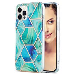 Green Glacier Marble Pattern Galvanized Electroplating Protective Case Cover for iPhone 12 Pro Max (6.7 inch)