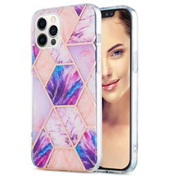 Purple Dream Marble Pattern Galvanized Electroplating Protective Case Cover for iPhone 12 Pro Max (6.7 inch)
