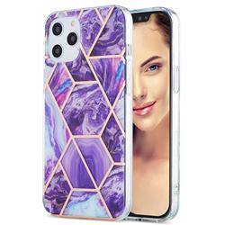 Purple Gagic Marble Pattern Galvanized Electroplating Protective Case Cover for iPhone 12 Pro Max (6.7 inch)